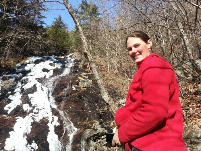 Lindsay and the snow covered waterfall.