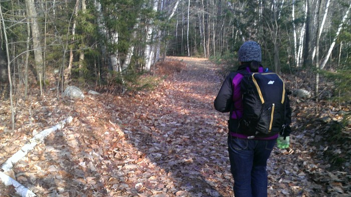 Sarah hiking on the Peabody Brook Trail.