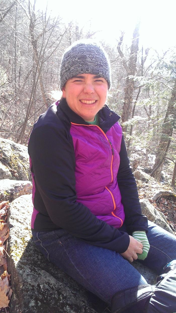 Sarah enjoying the waterfall view.