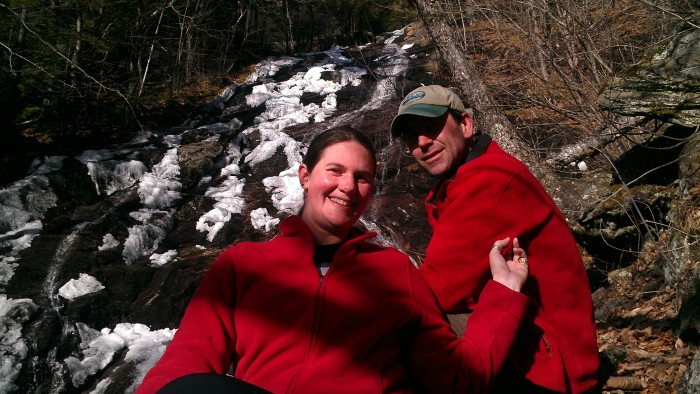 Andrew and Lindsay pose in front of Giant Fall.