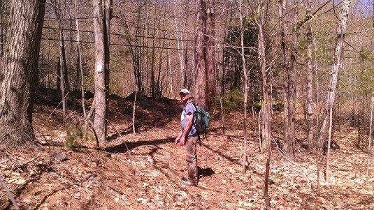 Andrew hiking up the yellow trail.