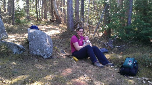 Lindsay and Alden resting at the summit.
