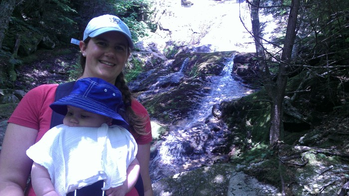 Lindsay and Alden pose in front of Hermit Falls.