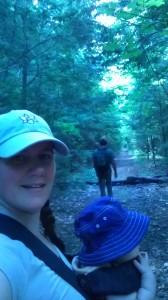 Hiking the trail.