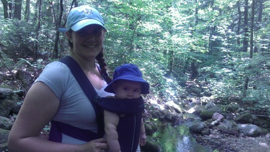 Lindsay and Alden pose at a stream crossing.