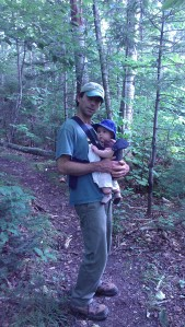 Andrew's turn to carry Alden back down the trail.