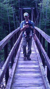 Andrew and Alden on the suspension bridge.