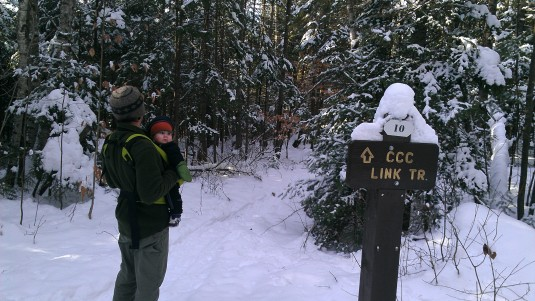 The CCC Link Trail veers off the snowmobile trail.