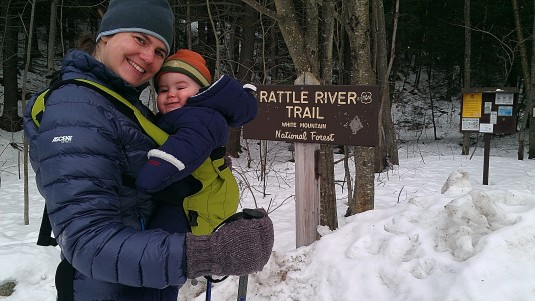 Lindsay and Alden at the Rattle River Trailhead.