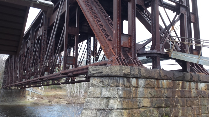 The railroad trestle bridge over the Androscoggin River.