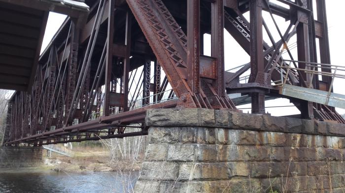 The railroad trestle bridge over the Androscoggin River.