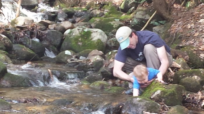 Alden and Andrew check out the brook.