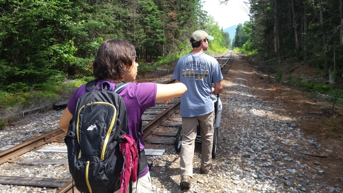 Walking along the railroad bed to the Little Cherry Pond trail.