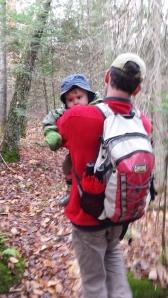 Andrew carrying Alden.