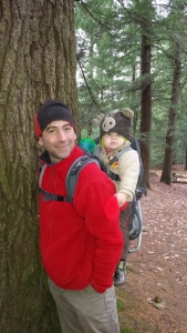 Andrew and Alden stop to pose after checking out a large tree.