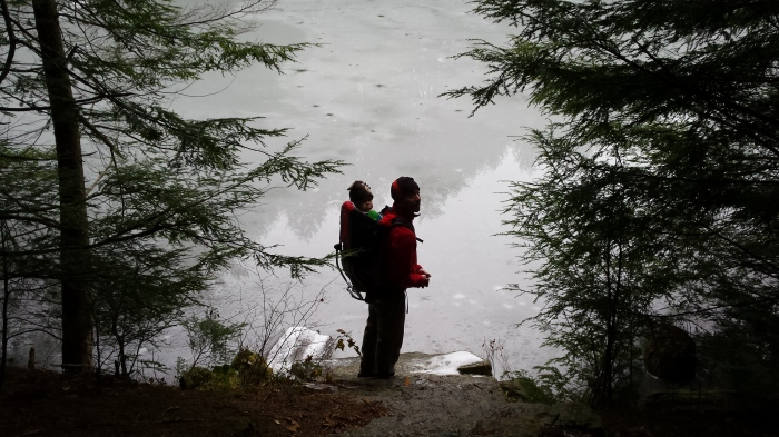 Andrew and Alden walk stone steps down to the frozen wetland.