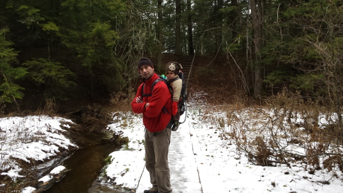 Andrew and Alden pause after crossing the ravine bridge.