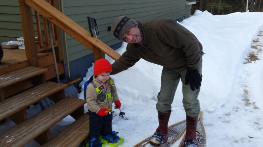 Alden and Andrew with their snowshoes.