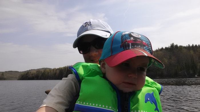Alden is a little unsure about being on the water.