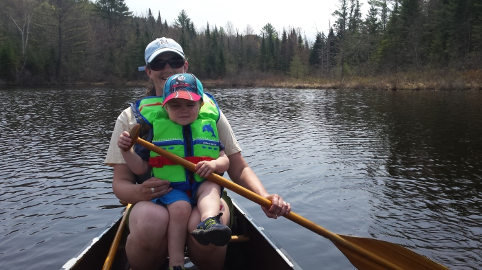 "Lindsay and Alden ""help"" paddle."