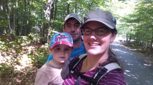 At the start of the hike.  The boys said they were smiling.