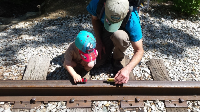 Who doesn't bring trains with them on a hike?