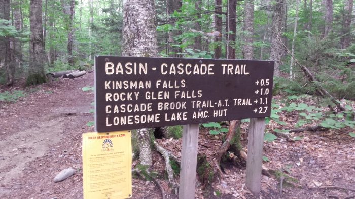 The Basin-Cascade Trail sign is near The Basin.