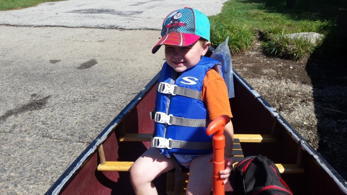 Alden is ready to paddle on Long Pond.